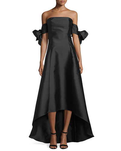 Off-The-Shoulder High-Low Gown, Jet