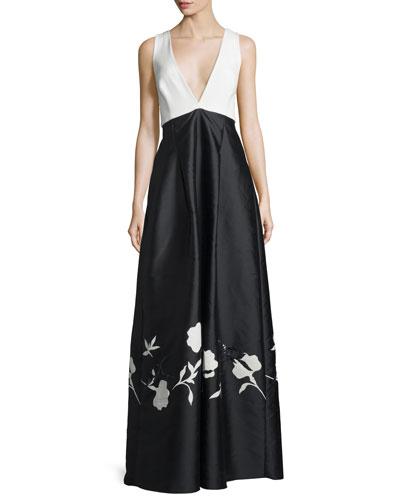 V-Neck Colorblock Gown W/Floral Appliqué, Jet