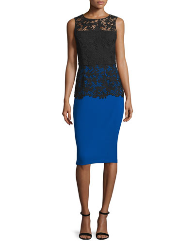 Sleeveless Lace-Bodice Cocktail Dress, Royal Blue