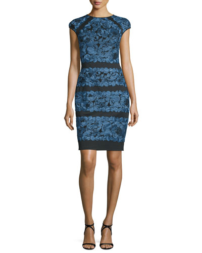 Cap-Sleeve Lace-Appliqué Cocktail Dress, Evening Blue/Black