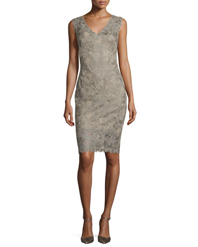 Sleeveless Lace Sheath Dress, Smoke Pearl