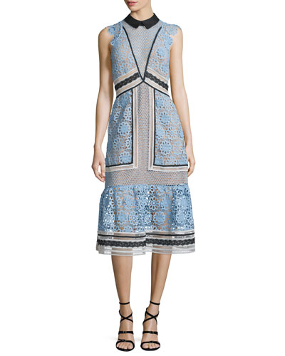 Sleeveless Paneled Lace Midi Dress, Blue/Black/White