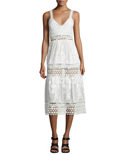 Sleeveless Embroidered Prairie Dress, White