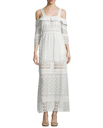 Cold-Shoulder Medallion Maxi Dress, White