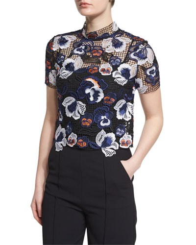 Short-Sleeve Boxy Summer Lace Top, Multicolor