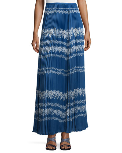 Pleated Flower Spell Maxi Skirt, Cobalt Blue/Cream
