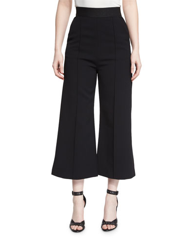Natasha High-Rise Flared Culottes, Black