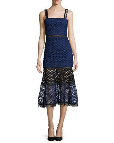 Erin Bicolor Crochet & Lace Midi Dress, Black/Navy