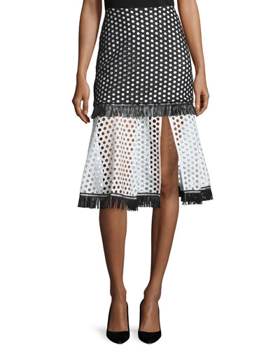 Elisa A-Line Eyelet Skirt, Black/White Circle