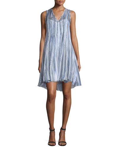 Sleeveless Abstract-Print Silk Chiffon Dress