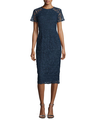 Short-Sleeve Floral-Lace Sheath Dress, Navy