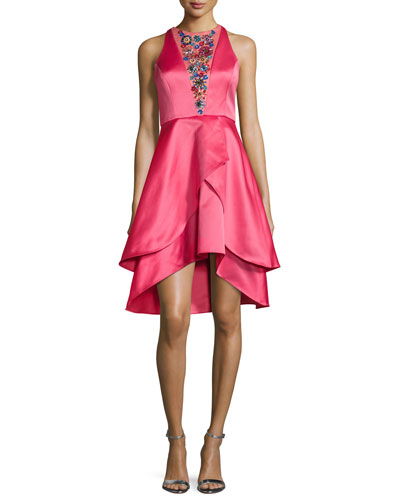 Sleeveless Illusion Beaded High-Low Cocktail Dress