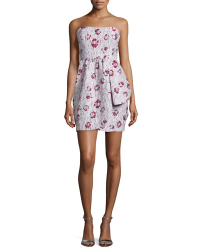 Strapless Floral-Print Mini Dress, Blush Multi