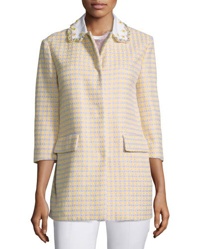 Embellished-Collar Check Jacket, Ginestra