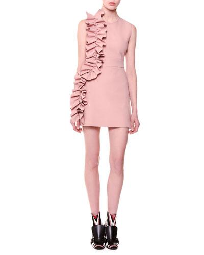 Sleeveless Stretch Crepe Ruffle-Trim Mini Dress, Blush