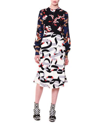 Long-Sleeve Multipattern Midi Dress, Multicolor