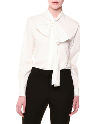 Tie-Neck Stretch Poplin Blouse, White