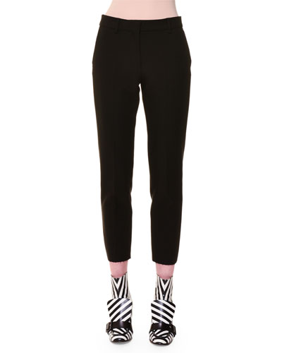 Cropped Skinny Trousers, Black