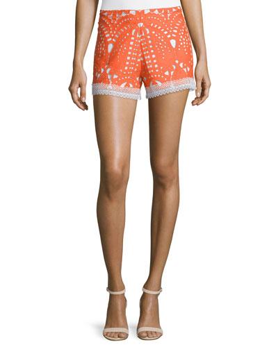 Giselle Lace Contrast-Trim Shorts, Tangerine
