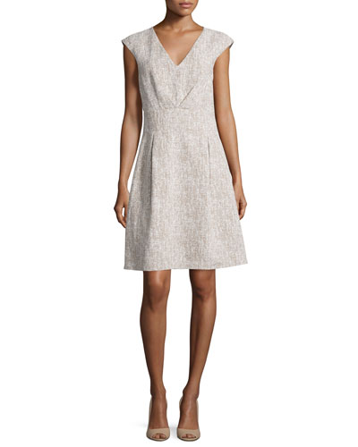 Jackie Cap-Sleeve A-Line Dress, Hemp/White