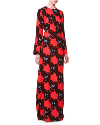 Long-Sleeve Printed Maxi Dress, Red/Blue