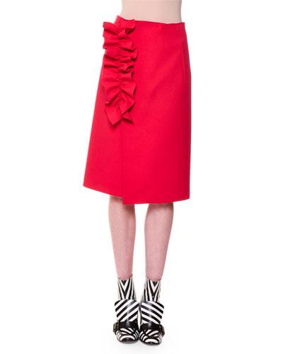 Stretch Crepe Ruffle-Trim Midi Skirt, Red
