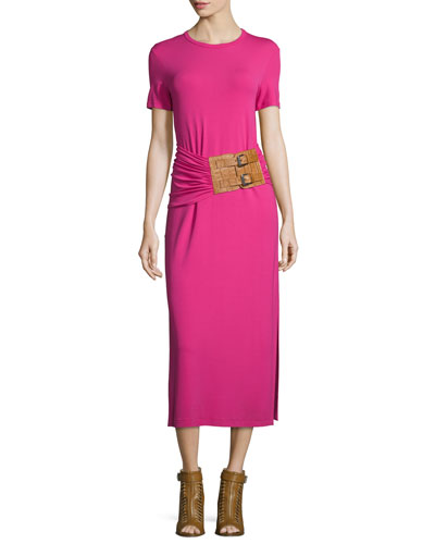 Short-Sleeve Ruched-Waist Midi Dress, Geranium