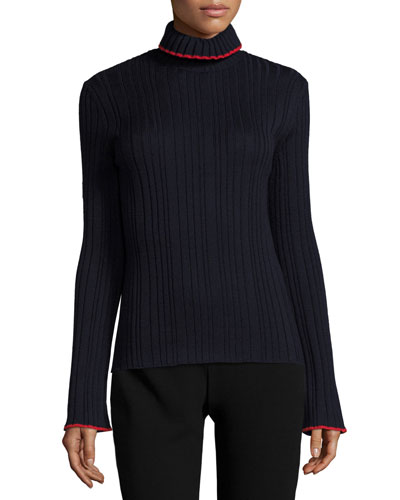 Tipped Ribbed Wool Turtleneck Sweater, Navy/Red