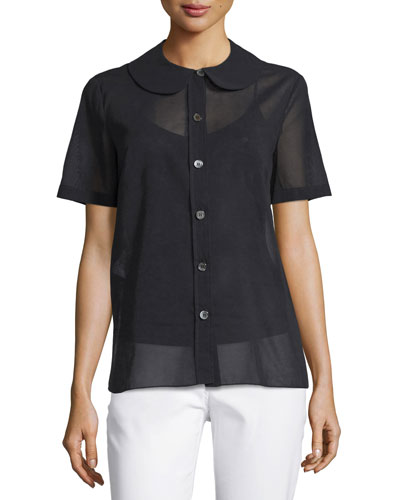 Button-Front Semisheer Shirt, Black