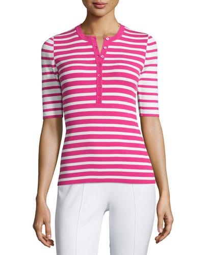 Short-Sleeve Mixed-Stripe Henley Tee, Geranium