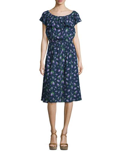 Ruffle-Sleeve Floral-Print Dress, Indigo/Lilac