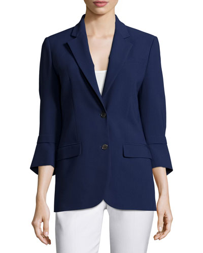 Pushed-Sleeve Two-Button Blazer