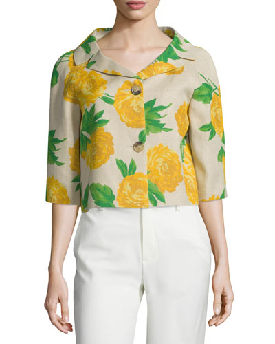 Half-Sleeve Button-Front Bolero, Hemp/Daffodil
