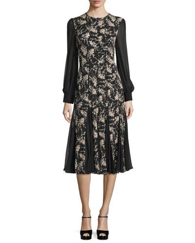 Long-Sleeve Paillette Dress, Black/Nude