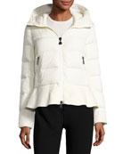 Nesea Quilted Puffer Coat w/Wool Trim