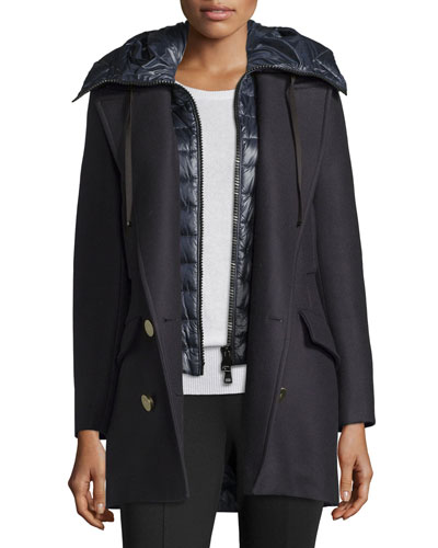 Galatea Wool Pea Coat w/Puffer Vest, Navy