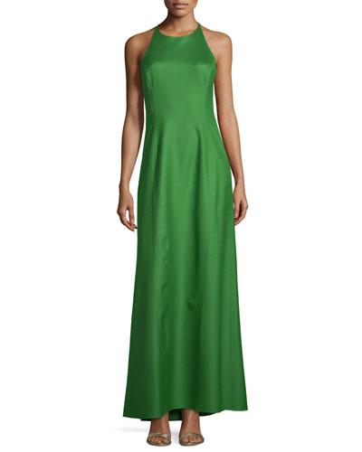 Halter-Neck Sleeveless Silk Gown, Lawn