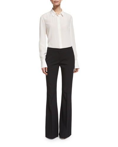 Mid-Rise Flat-Front Flare Pants, Black