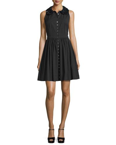 Embellished-Collar Button-Front Shirtdress, Black
