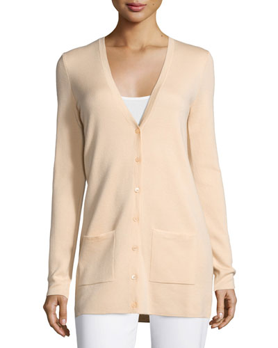 Cashmere Button-Front Cardigan, Nude