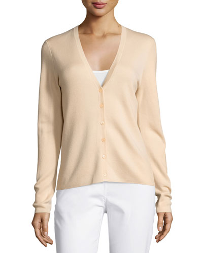 Long-Sleeve Cashmere Cardigan, Nude