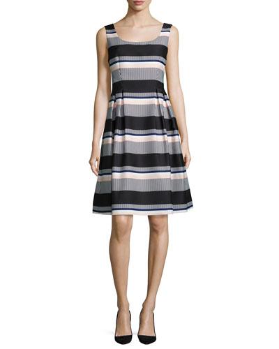 sleeveless striped taffeta dress, black