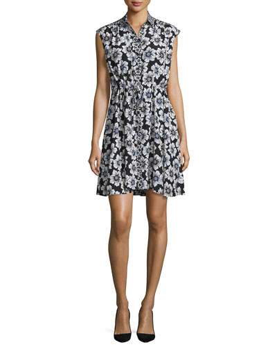 collared floral silk-blend shirtdress, black