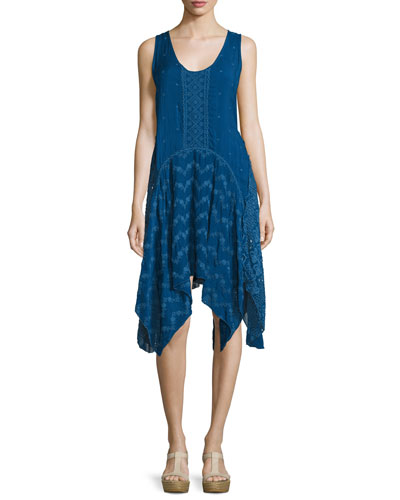 Windmill Sleeveless Embroidered Dress, Bluebird