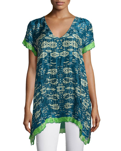 Johnny Was Puente V - Neck Printed Tunic W / Contrast Trim, Plus Size