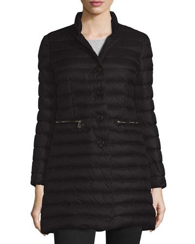 Anjony Long Button-Front Puffer Jacket, Black