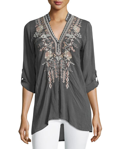 Lydia Split-Neck Embroidered Blouse, Iron Steel