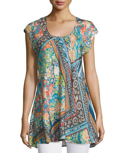 Roseton Cap-Sleeve Printed Tunic, Multi Colors