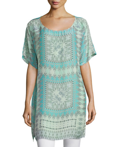 Arroyo-Ice Short-Sleeve Long Tunic, Multi Colors
