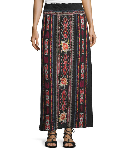 Zona Embroidered Maxi Skirt, Black